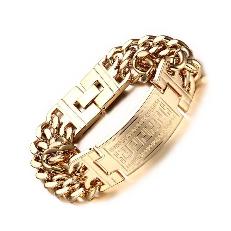 Goldfarbe plattiert Charme Armbänder Armreifen für Männer Edelstahl Schmuck Männliche Link Kette Armbänder