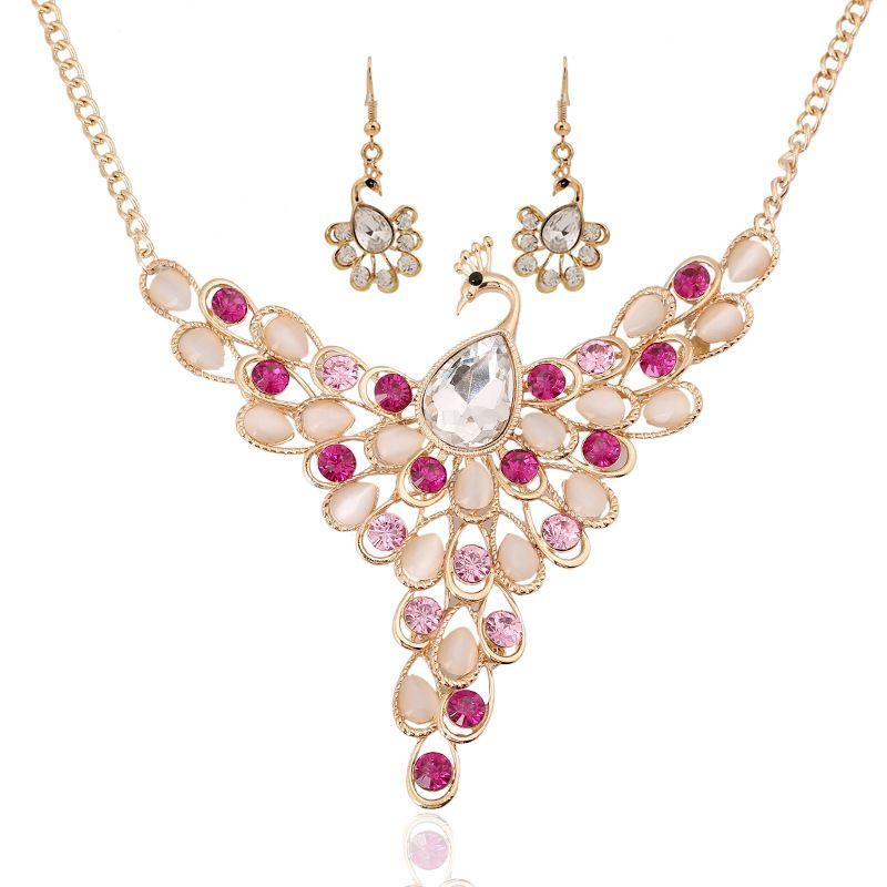 Europa grande cor gem colar de diamantes exagerada pavão fabricantes de jóias traje atacado camisola cadeia