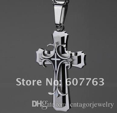 Блестящий 316L из нержавеющей стали черная эмаль тройной палубе готический христианский крест кулон ожерелье цепь высокое качество подарок