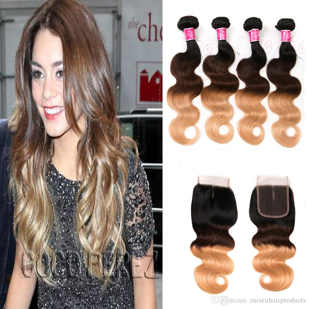 brazilian body wave ombre #1b/4/27 100% virgin hair unprocessed human hair weave bundles with closure swiss lace 4*4 no shedding free ship