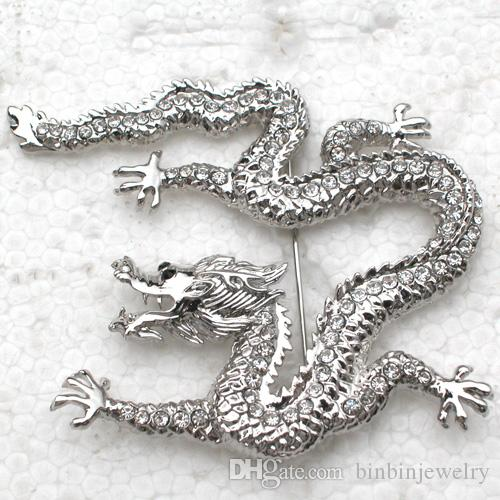 12pcs / lot gros cristal strass dragon broches mode costume broche broche bijoux cadeau c343