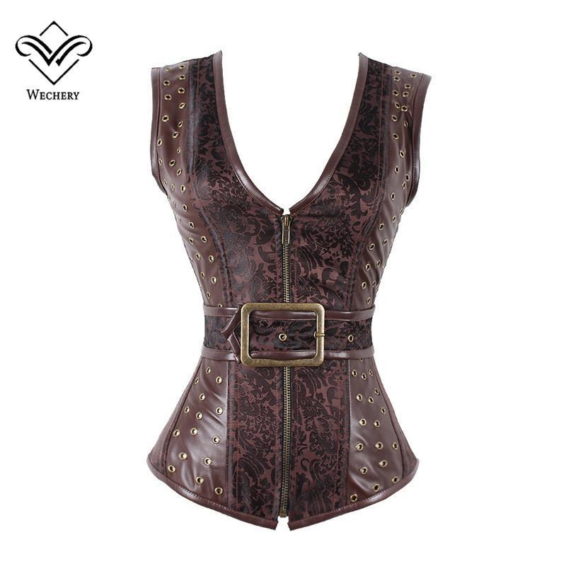 Kahverengi Steampunk Korse Gotik Giyim Seksi Jakarlı PU deri Çelik Kemikli Zip Toka Korseler Ve Bustiers