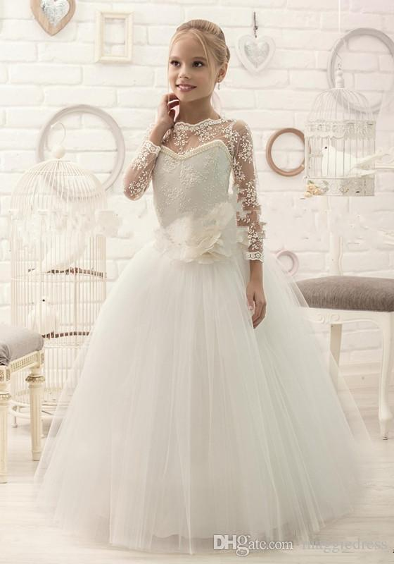 Cheap Lace Beaded Long Sleeves Ball Gown Tulle Baby Girl Dresses