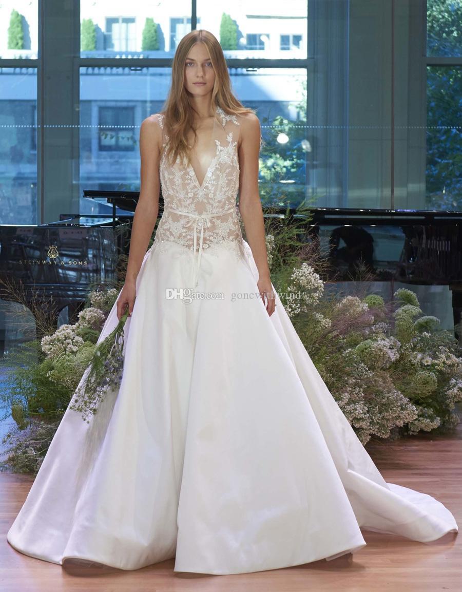 Dropwaist Satin Ball Gown Wedding Dresses 2017 Monique Lhuillier ...