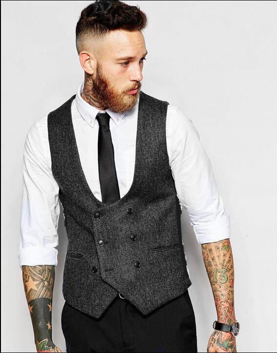 Цветные мужчины погружные мужчины сплошной жилет тонкий подходящий размер плюс бренд жилет мода винтажный пиджак оптом - S-4XL одежда двойные жилеты A2672 XMSLI