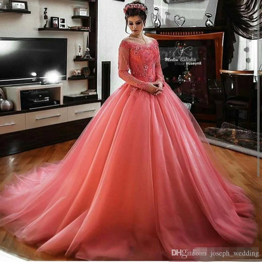 Coral Long Sleeves Lace Tulle Ball Gown Prom Dresses Off the Shoulder Princess Arabic Women Formal Evening Party Gowns Couture