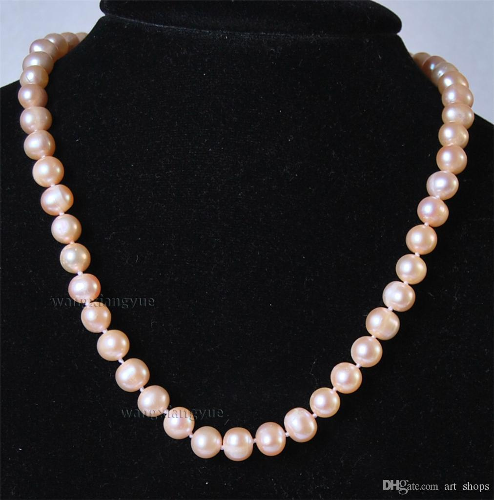 "Détails sur Long 18 ""8-9MM collier de bijoux en perles de culture naturelle Akoya rose"