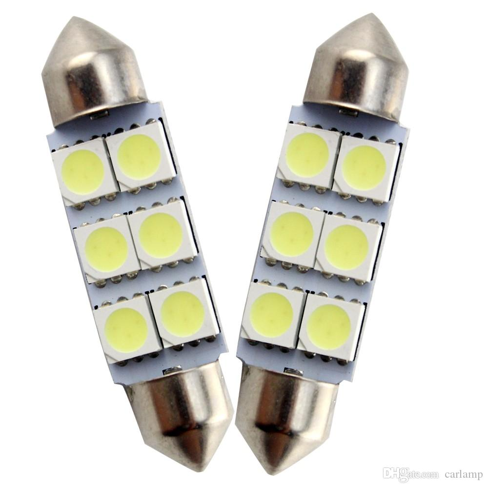 100X 31MM 36MM 39MM 41mm 4SMD 6SMD 5050 Festoon C5W 12V Licence Plate Dome Interior Festoon Auto Lamp Car LED Bulb Parking