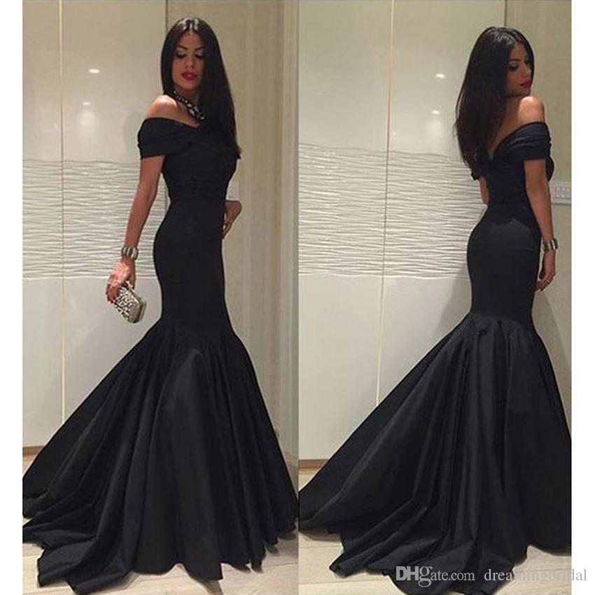 Black Mermaid Prom Dresses Backless Off