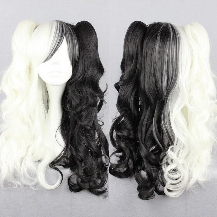Danganronpa Dangan Ronpa Monokuma Long Cosplay Hair With Two Ponytails Wigs