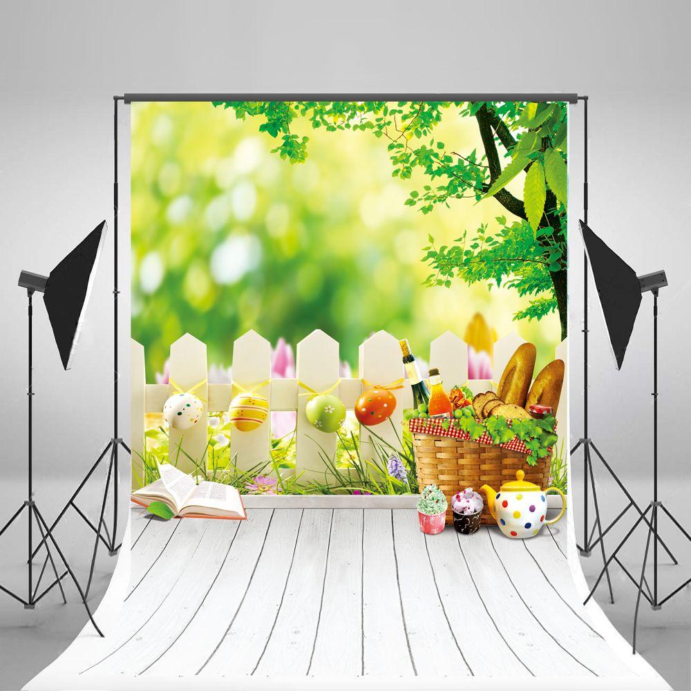 Kate fundo da fotografia de páscoa ovos cenário piso de madeira branco cenário natural primavera fundos sem rugas