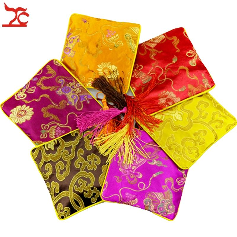 "100pcs 4 1/2"" Square Chinese Silk Jewelry Pouch Display Packaging Colorful Pouch Zipper Wedding Party Favor Tassel Gift Bag"