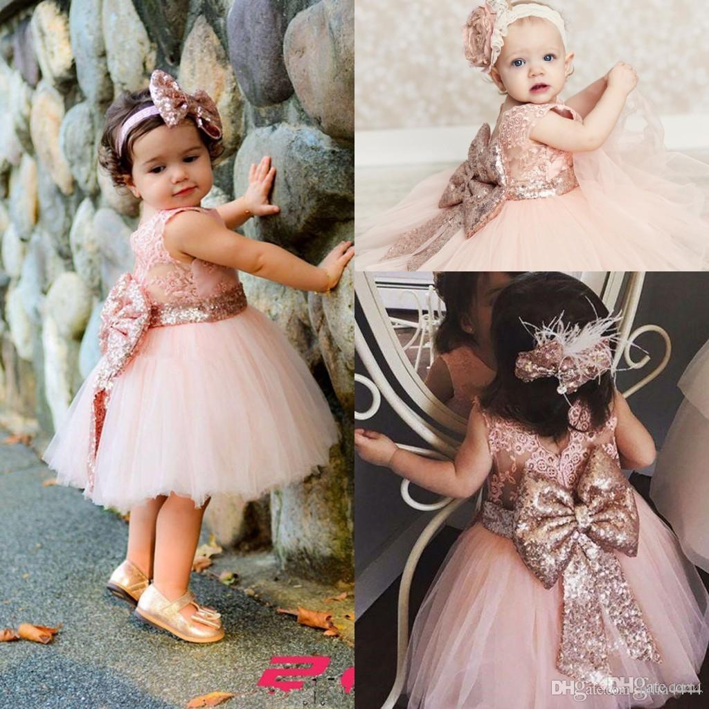 Baby Infant Toddler Birthday Party Dresses Blush Pink Rose Gold Sequins Bow Lace Crew Neck Tea Length Tutu Wedding Flower Girl Dresses 2019