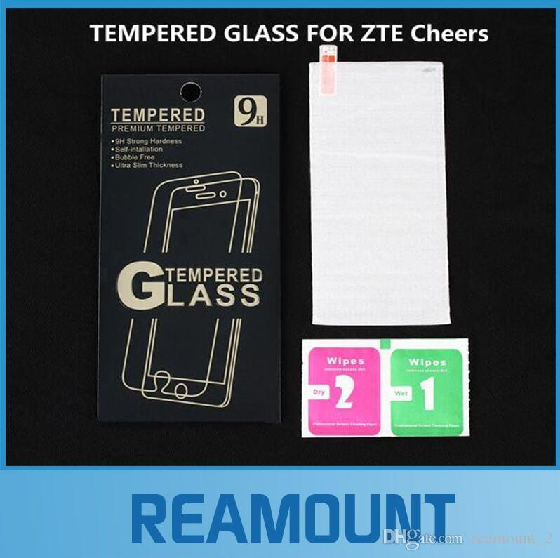 500 pcs Wholesale With retail packaging Premium 0.3mm 2.5D Tempered Glass Film Explosion Proof Screen Protector For ZTE Cheers