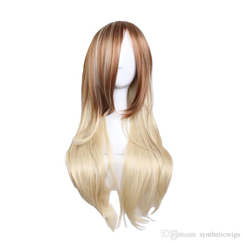 WoodFestival loira marrom cor misturada peruca longa perucas para mulheres cabelo resistente ao calor perucas sintéticas peruca reta 70cm