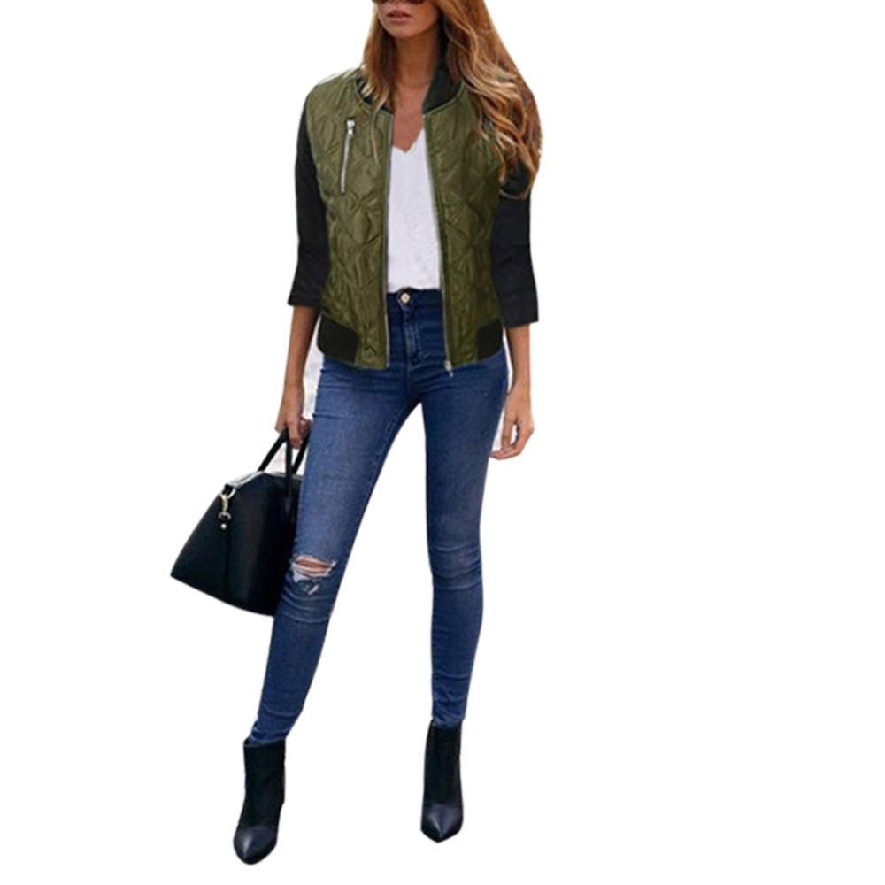 Atacado- Jacket Mulheres Autum Inverno Casual Bomber Básico Zipper acolchoado casaco quente acolchoado Casacos Plus Size 3 cores na moda de Slim senhoras