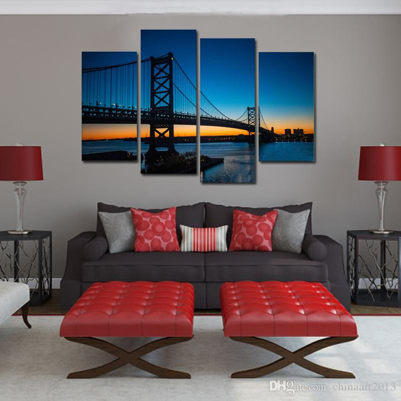 Beautiful bridge dawn scenery 4 Pieces modern HD print pictures landscape oil painting on canvas home wall art decoration