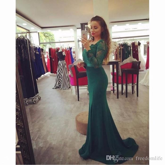 Abito da sera verde smeraldo modesto abito da festa manica lunga 2017 in raso di pizzo su misura per le donne dressess formale per le donne