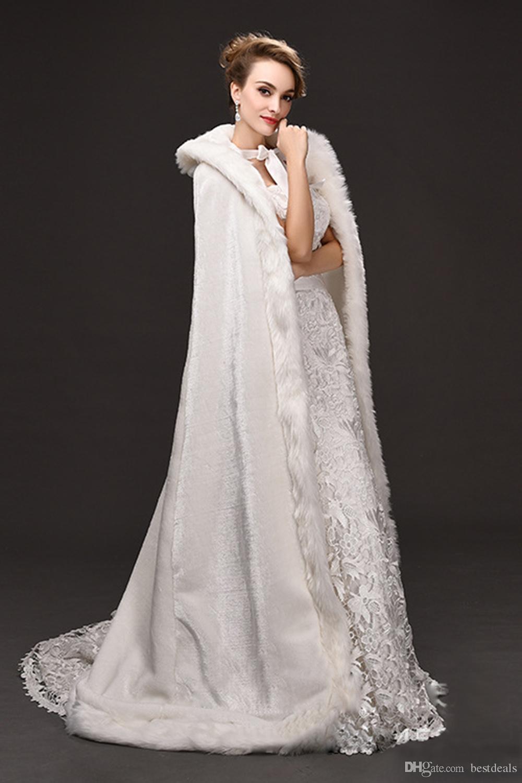 Зимняя война из искусственного меха свадебный плащ Теплые укутывания с капюшоном Длина пола Идеальная куртка Абая для свадебной куртки с капюшоном Cape CPA1616