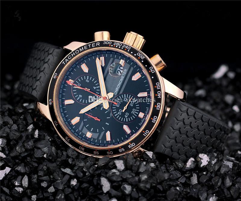 高品質クォーツストップウォッチラグジュアリーメンズクロノグラフ腕時計ゴールドケースブラックゴム腕時計532