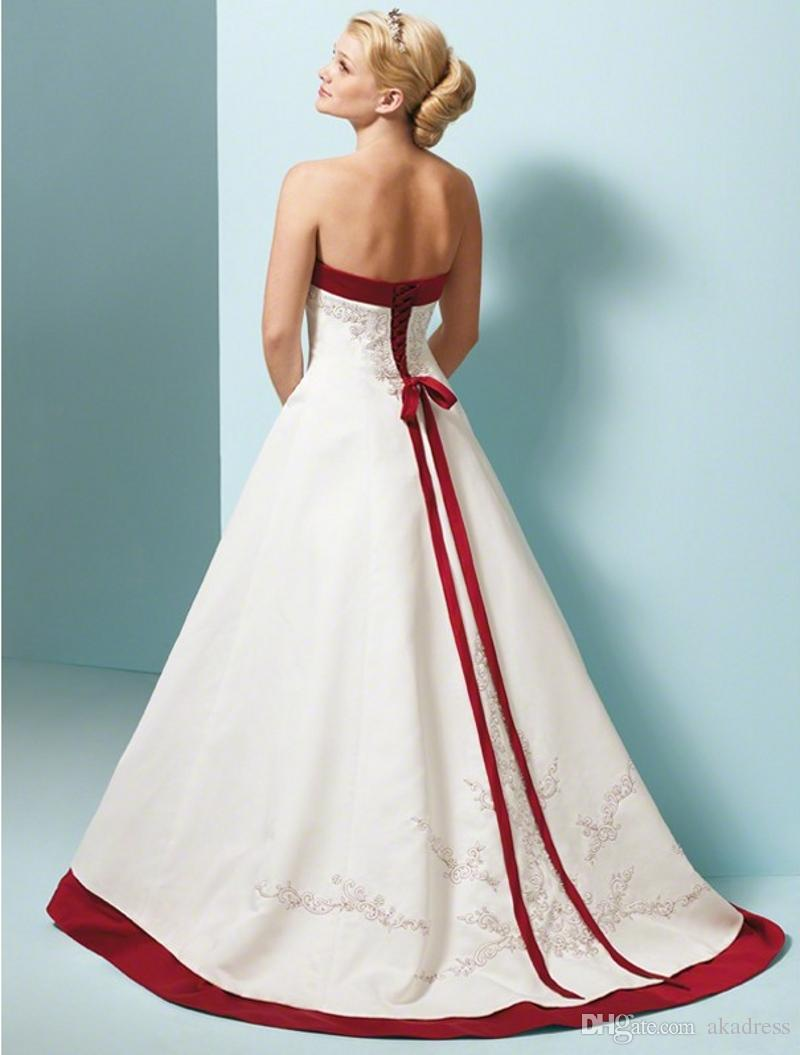 Discount New 2017 Red And Ivory Colorful Wedding Dresses Satin A ...