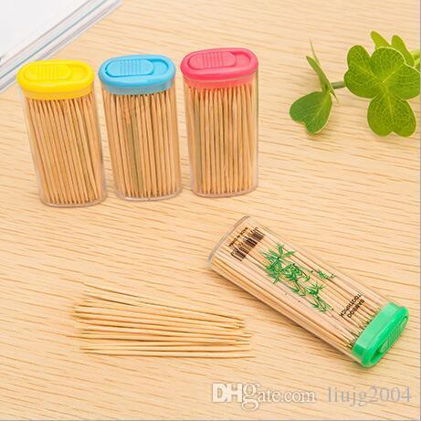 100pcs / bag hotsale decorazioni per la tavola accessori hotel creativo uso domestico portatile di bambù naturale stuzzicadenti dentale flosser trasporto libero