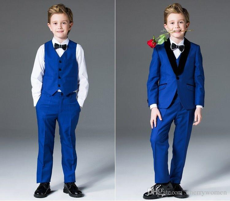 Boys Suits Royal Blue Flower Boys Wedding Suit Page Boy Party Prom 3 ...