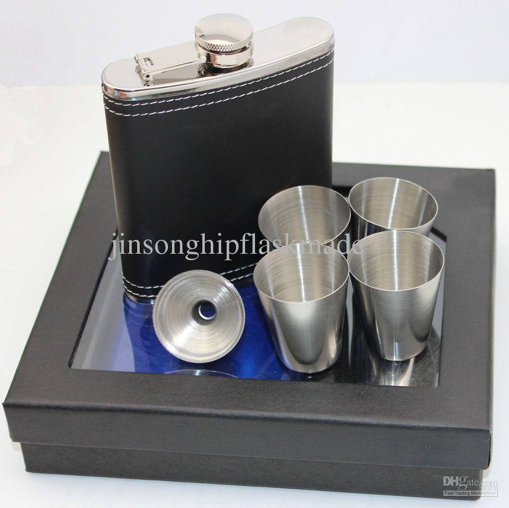 7oz schwarz pu-Leder-Flachmann mit 4 Schnapsglas und Trichter in schwarzer Geschenkbox