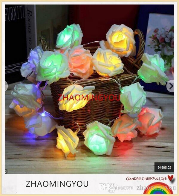 YOU Battery operated Novelty Rose Flower Fairy String Lights 20LEDs 2M Fashion Holiday Lighting Wedding Party Christmas Decoration