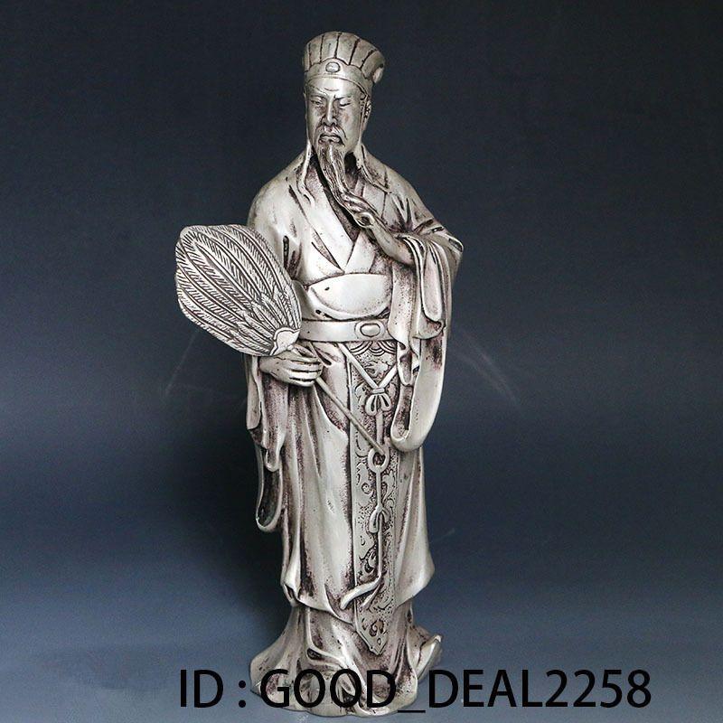 Collezione Folk Art Cinese Tibet Argento intagliato a mano Statua intagliata a mano --- Zhuge liang