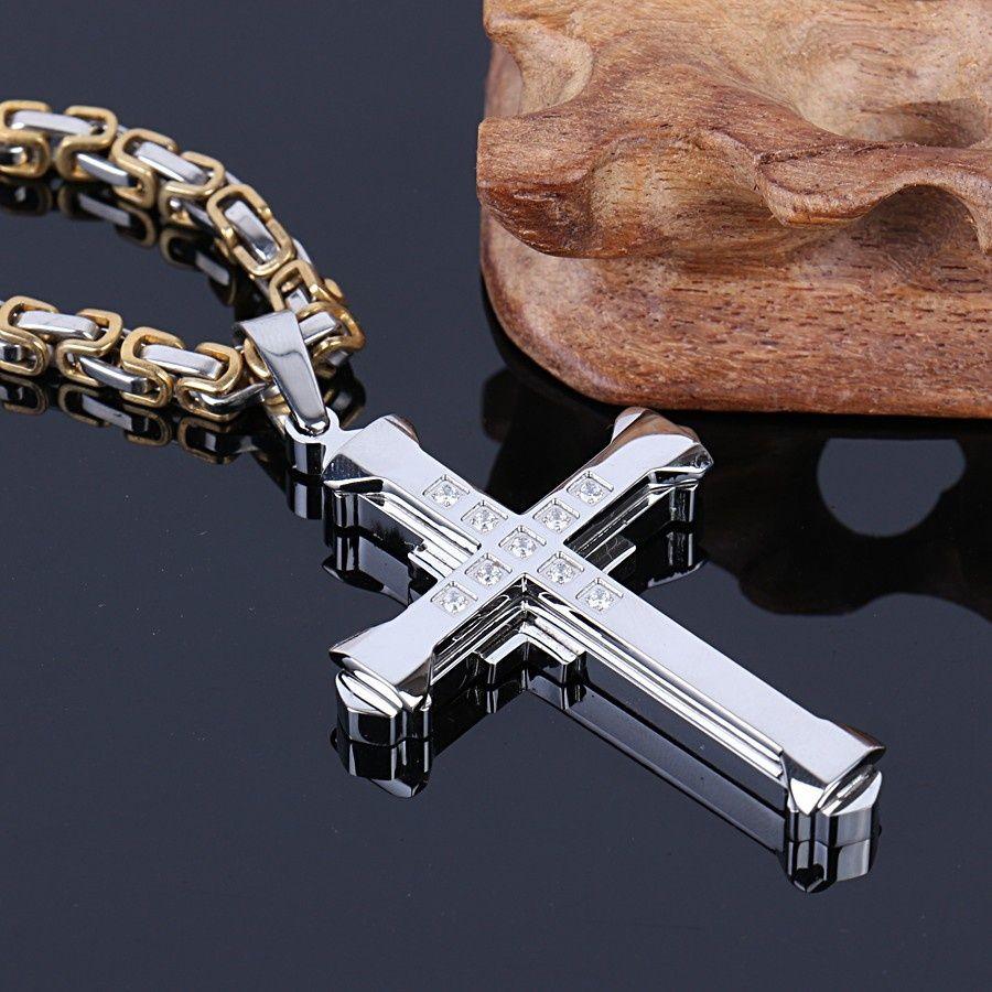 Высокое качество сверкающих горный хрусталь мужчины серебряный кулон ожерелье распятие ювелирные изделия Fahion новый 316l из нержавеющей стали дешевые ювелирные изделия np30