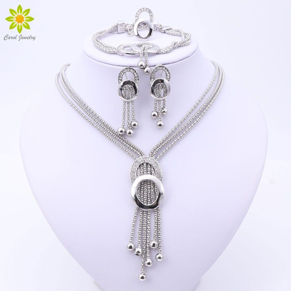 2017 New Fashion Dubai Jewelry Set Silver Plated Romantic Nigerian Wedding African Beads Costume Jewelry Set For Women