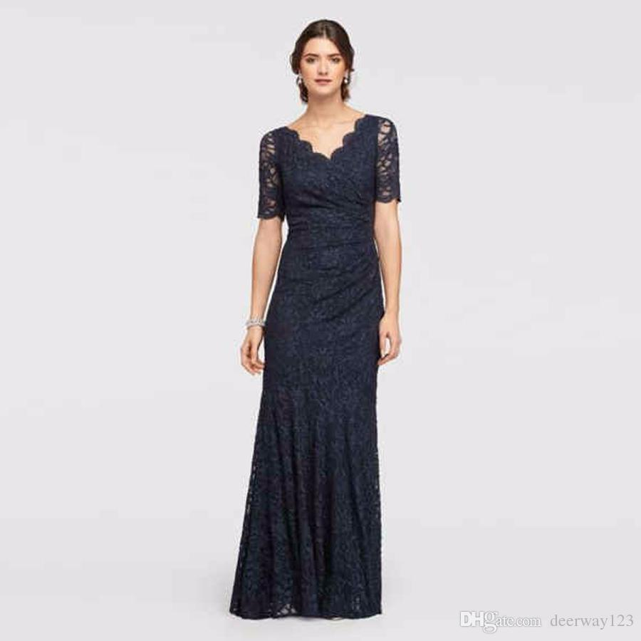 Allover Lace Elbow Sleeved Dress with Scallop Trim 183130 Black Sexy Mother of the Bridal Dres Wedding Party Dress Formal Dresses