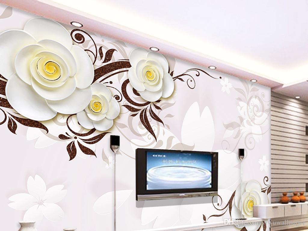 murale d'arrière-plan relief TV stéréo 3D fleurs blanches fond d'écran papier peint 3D pour toile de fond TV