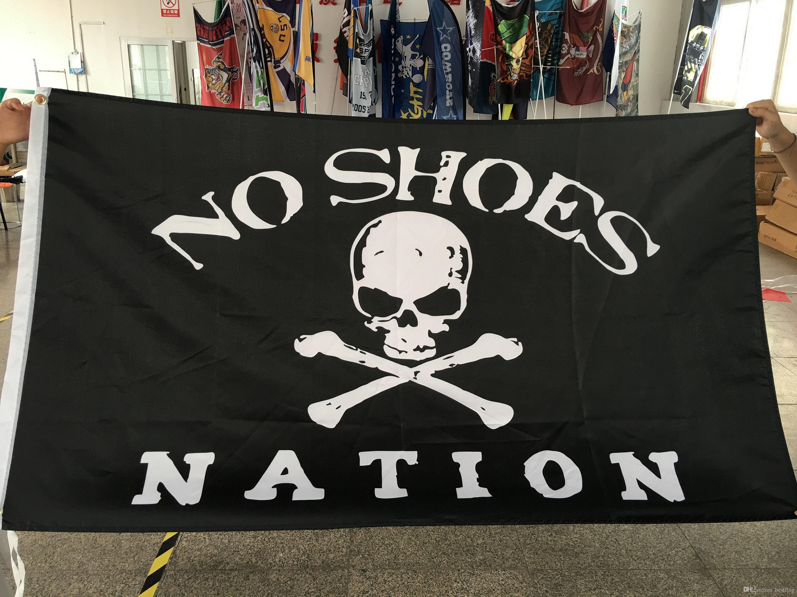 Nation No Shoes Custom Flag Flying Design 3x5 ft 100D Polyester Banners with Two Metal Grommets