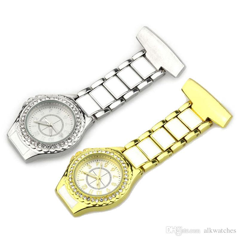 rhinestone nurse watch fob pocket nursing watch diamond lapel brooch clock for hospital doctor use as medical gifts golden and silver