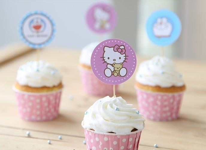 Cartoon Pick Cupcake Toppers Picks Cupcake Pick Muffin Cupcake Wrappers and Toppers for Baby Shower Birthday Party Decorations