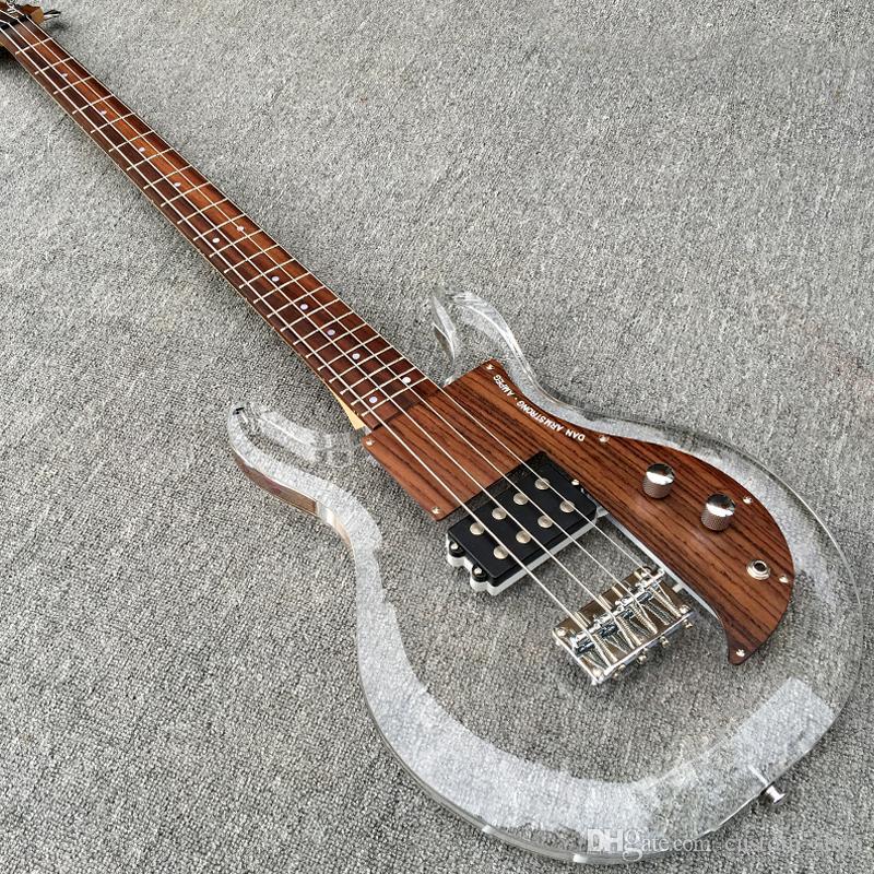 RARE 4 문자열 아크릴 바디 댄 암스트롱 AMPEG 전기베이스 기타 목재는 메이플 넥 로즈 우드 지판 최고 판매를 픽가드