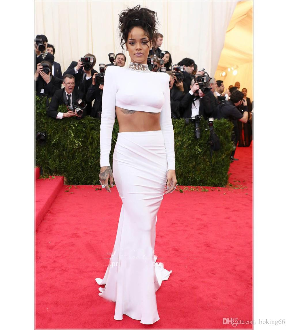 White dress design 2017 - Rihanna White Dress 2017 Met Gala Two Pieces Evening Dress Red Carpet Gown Mermaid Formal Gown
