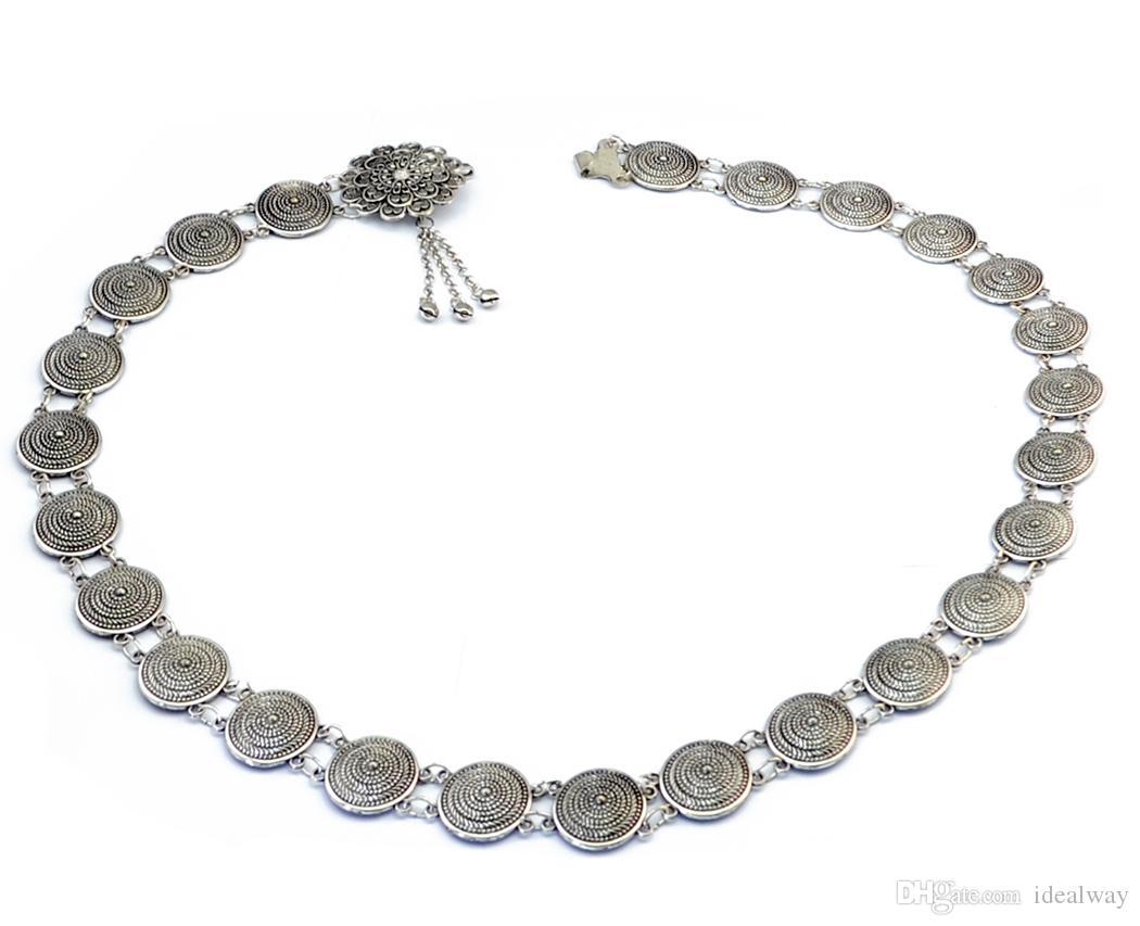 idealway البوهيمي سبائك الفضة الأزياء نحت سلسلة جولة الجسم أجراس الشرابة منحوت الجوف خارج زهرة الخصر سلسلة البطن