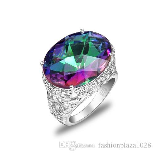 LuckyShine Weddings Jewelry Shiny Rainbow Oval Fire Mystic Topaz Gemstone Silver Unisex Lovers Ring Jewelry US Size 7-9