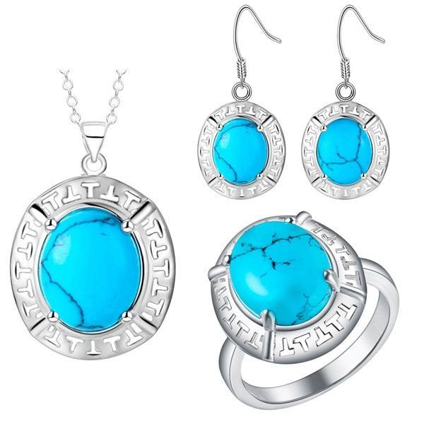Set di gioielli in argento massiccio di nuova moda a forma di uovo Set turchese di bellissimi U.S.