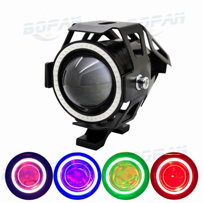 1pcs Motorcycle LED Headlight Fog Light CREE Chip U7 125W 3000LM Devil Angel Eye DRL Daytime Running Light Spot Lamp BK