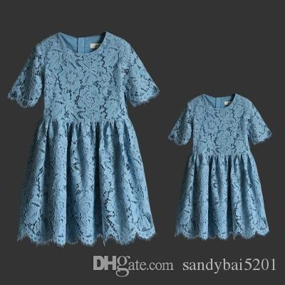 7 Colors Mother Daughter Dresses 2020 Summer Mom and Me Lace Matching Dress Mother and Maughter Clothes for Party Kids Years Wear S072
