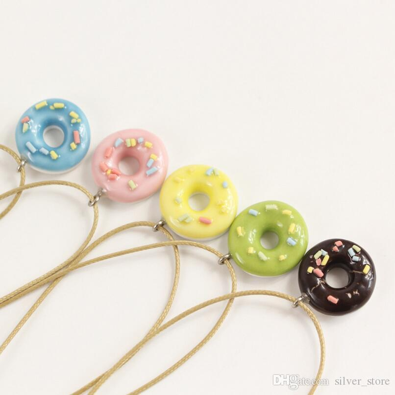 Good A++ Donut small fresh girlfriend necklace cartoon clavicle chain simple jewelry ceramic WFN500 (with chain) mix order 20 pieces a lot