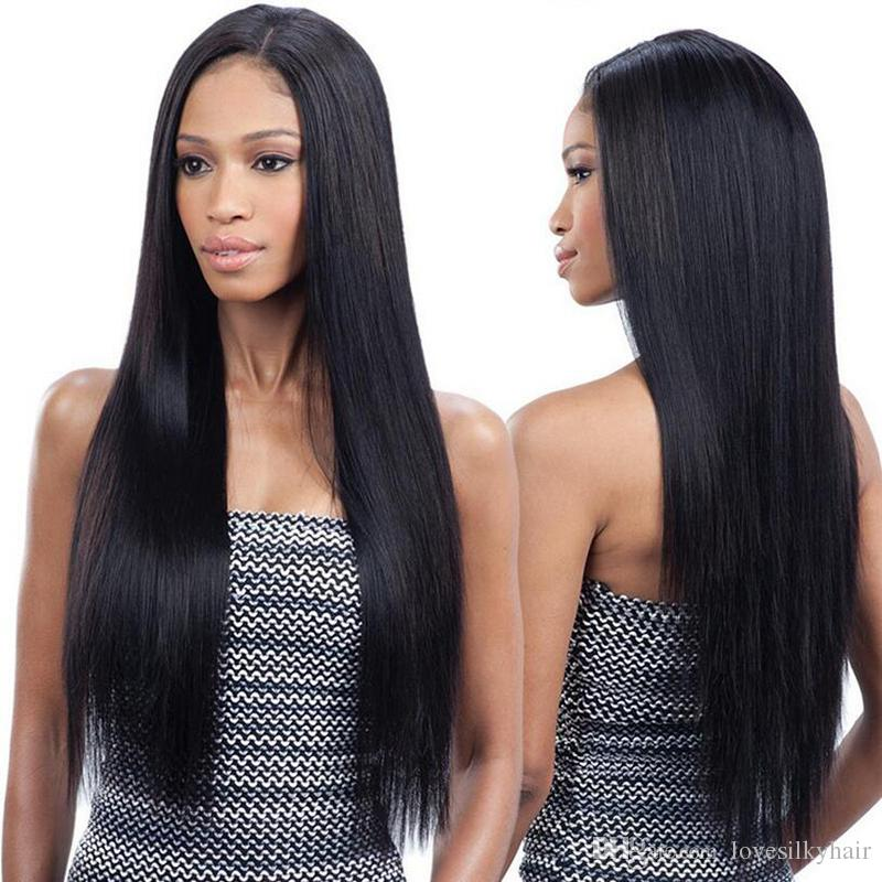 Venta al por mayor de simulación de cabello humano pelucas llenas pelucas largas y rectas con peluca de parte media en stock