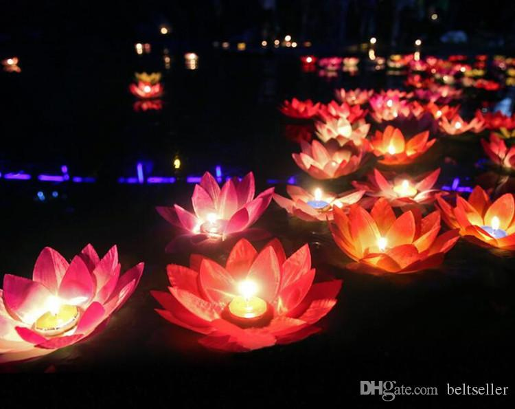 20 CM Artificial Lotus Flower Wishing Lamp Silk Lanterns Floating Water Candle Light For Wedding Christmas Party Decorations supplies