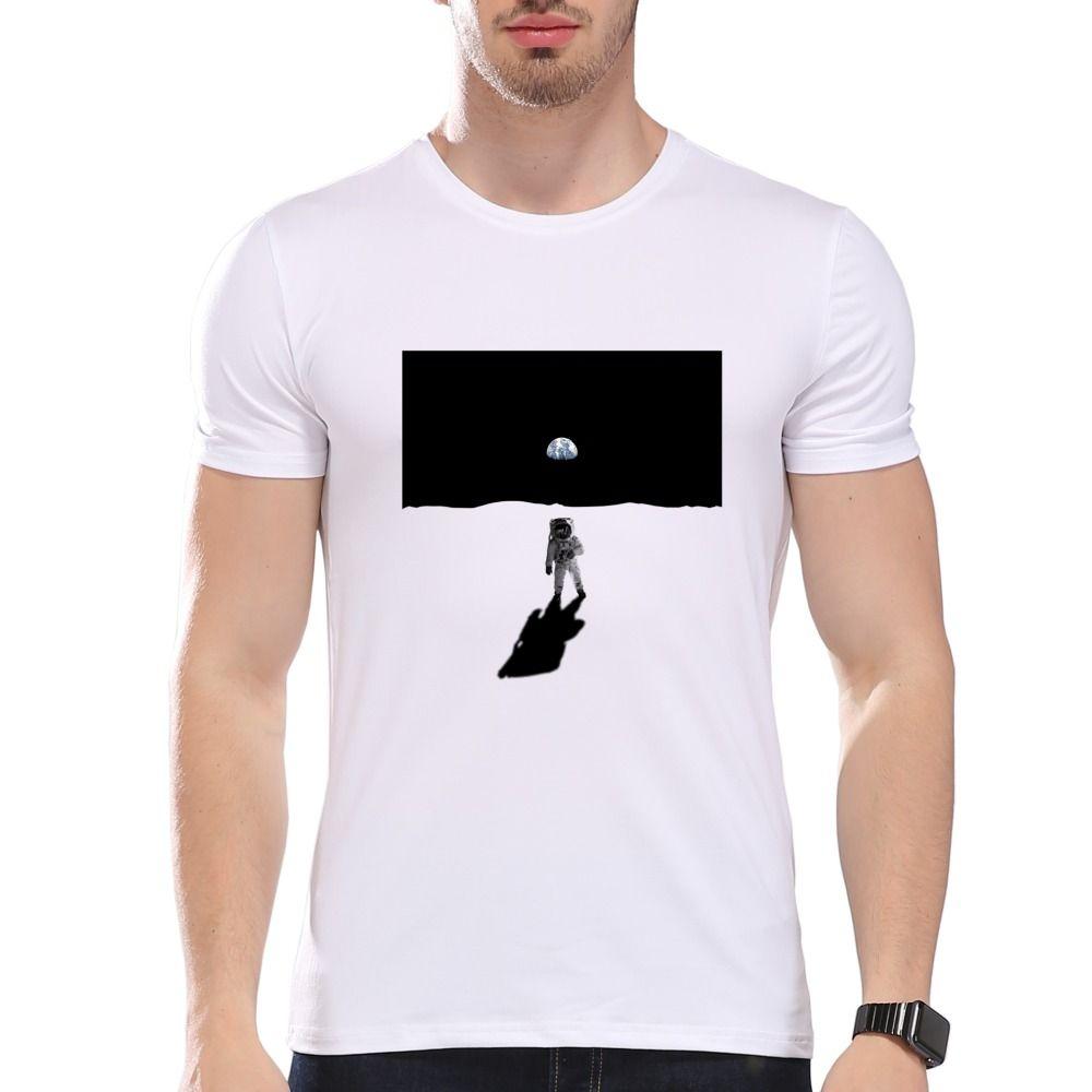 Männer Kleidung Tees Günstige Männer Astronauten auf dem Mond Drucken T-Shirt Männer Sommer Modal Hipster Tees la253