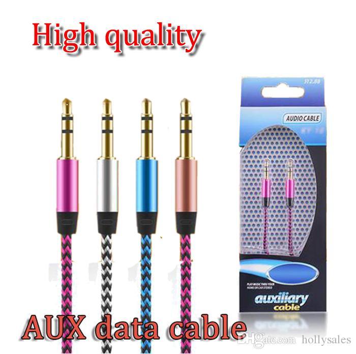 Nouvelle arrivée 3.5mm AUX câbles audio mâle à mâle stéréo voiture extension câble audio pour MP3 pour téléphone 10 couleurs avec paquet de détail