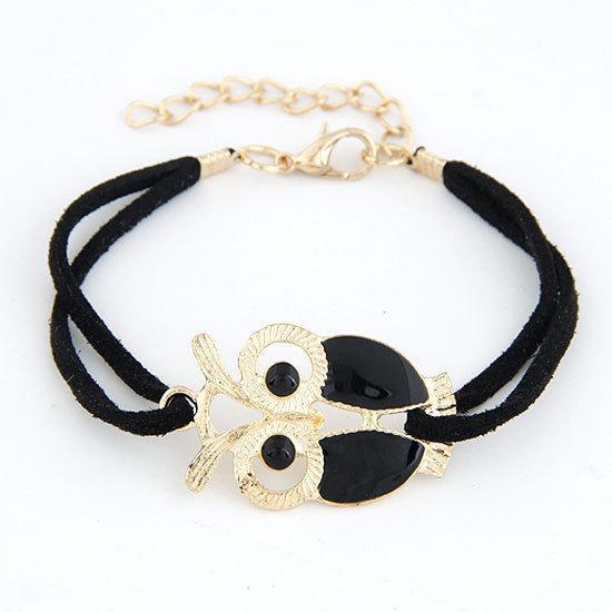 Brand New Fashion bracelets en cuir bracelets émail plaqué or Night Night Owl Charm Bracelet pulseiras pour femmes hommes bijoux Bijoux